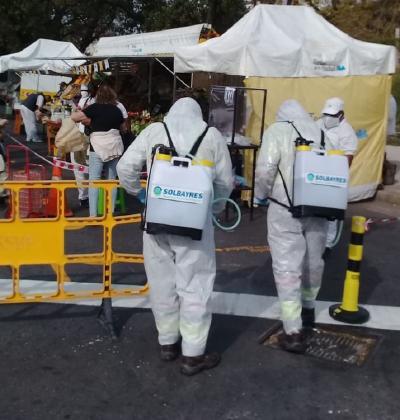 Solbayres desinfecta en la Ferias Itinerantes de Abastecimiento Barrial